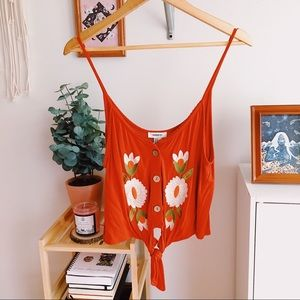NWOT Forever 21 Rust Embroidered Floral Crop Cami
